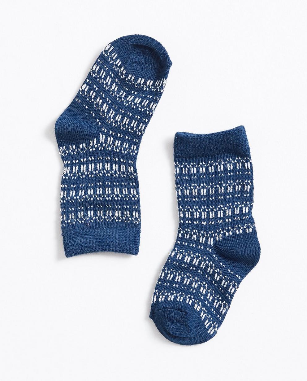 Donkerblauwe kousen - met jacquard patroon - JBC